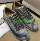 Mens Shiny  Sneakers Shoes Running Lace Up Brids Printed skate shoes Trainers