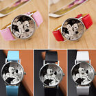 Mickey Mouse Leather Wrist Watch Lady Girl Women Teens Kids Cartoon Watches image