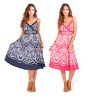 Pistachio Womens Buttercup Print Crossover Dress Ladies Strappy Knee Length Midi