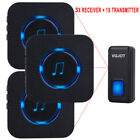 LED 55 Melody 1000FT Wireless Doorbell Chime 1 Transmitter + 3 Plugin Receiver