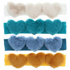 Внешний вид - Cute Baby Headband with Three Fur Hearts Soft Stretchy & Pretty Great Color