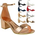 Womens Ladies Low Block Heel Black Sandals Ankle Strap Work Smart Shoes Size