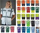 Yoko Hi Vis Viz Vest Safety Zip Executive Visibility Waistcoat Phone & ID Pocket
