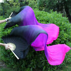 2PCS 18M Colorful Dance Belly Dancing Silk Bamboo Long Fans Veils Stage Props