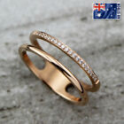 New 18k Rose Gold Filled Lady Crystal Thin Slim Knuckle Midi Finger Wedding Ring