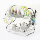 2 Tiers Drying Rack Dish Cup Tray Holder Kitchen Organizer Cutlery Dryer Drainer