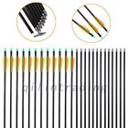 25pcs Fiberglass Fletched Arrows Compound Bow Hunt Target Practice Training New