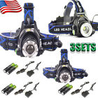 10 Set 50000LM T6 LED Headlamp Headlight Zoom Rechargeable 18650+Charger USA