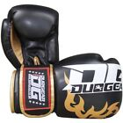 BLACK 'DG2018' SYNTHETIC LEATHER MUAY THAI KICKBOXING BOXING GLOVES (6oz-16oz)