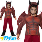 Boys Red Devil Costume + Wings + Horns Evil Scary Halloween Fancy Dress Outfit