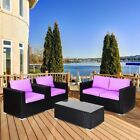 Rattan Wicker Patio Garden Furniture Set Coffee Table Armed Single Chairs Seats