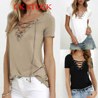UK STOCK Sexy Womens V-Neck Cross LACE-UP Loose Short Sleeve T-shirt Slim Tops