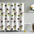 71-Inch 3D Polyester Bathroom Shower Curtains Sheer Mat Bath Shade with 12 Hooks