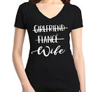 Girlfriend Fiance Wife Women's V-Neck T-shirt Wedding Bachelorette Party Tee