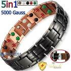 5In1 PURE SOLID COPPER BLACK MAGNETIC THERAPY CHAIN BRACELET MEN ARTHRITIS PC03B image