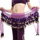 Belly Dance Costume Hip Scarf Tribal Gold Coins Sequins 3 Rows Hip Belt Skirt US