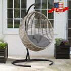 Wicker Woven Pod Swing Patio Garden Hanging Egg Chair w/Cushion