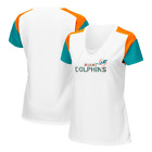 NFL Team Apparel Miami Dolphins TX3 COOL V Neck Lace up Jersey Shirt Womens