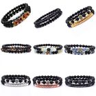 2 pcs Men Seven Chakras Natural Stone Beads Elasticity Bracelet Bangle Jewelry