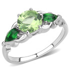Green Peridot CZ Round & Pair Cut Stainless Steel 3 Stone Cocktail Ring