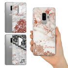 PERSONALISED NAME GREY ROSE GOLD LACE EFFECT MARBLE GEL PHONE CASE FOR SAMSUNG