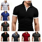 New Men's Slim Fit POLO Shirts Short Sleeve Casual Golf T-Shirt Jersey Tops