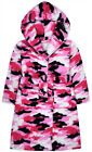Girls Camo Dressing Gown Kids New Hooded Pink Robe Ages 7 8 9 10 11 12 13 Years