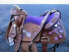 12 13 PINK FLORAL CROSS TOOLED BROWN LEATHER PONY YOUTH KIDS LEATHER SADDLE TACK