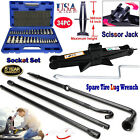 Spare Tire Tools Survival Bag Rescue First Aid Roadside Assistance Socket Set US
