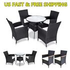 Patio Furniture Set Dining Corner Rattan Table Chairs Cushions Garden Home New