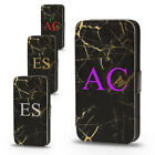 PERSONALISED BLACK MARBLE EFFECT GOLD  NAME FLIP LEATHER PHONE CASE FOR IPHONE