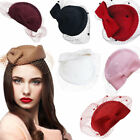 Retro Womens Dress Fascinator Wool Felt Pillbox Hat Party Wedding Bow Veil A082
