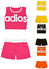 Girls Crop Top And Shorts Outfit New Kids Summer Set Black Pink Ages 5-13 Years