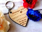 Personalised Anniversary Calendar wooden Keyring Valentines Wedding Birthday 019