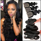 3 Bundles Body Wave with Lace closure Brazilian Hair Human Hair Weave US STOCK