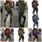 UK Womens Lace Up Camouflage Long Sleeve Tops Ladies Casual Loose T-Shirts S-4XL