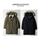 AE American Eagle Women Down Jumper with Detachable Fur Hoodie Olive Black NWT