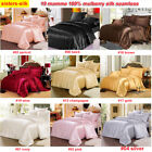 19MM 100% Real Mulberry Silk Duvet Cover Fitted Flat Sheets Bed Linens Seamless