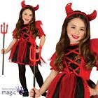 Childs Girls Cute Red Devil Demon Halloween Fancy Dress Costume Outfit & Horns
