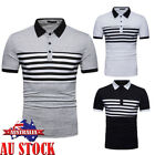 Mens Short Sleeve Golf Polo T-Shirt Slim Fit Striped Lapel Shirts Tops Basic Tee