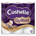 Cushelle Quilted - 9 Rolls Cushion Soft Toilet Tissue Paper Roll 2 Ply