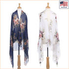 New Women Fashion Floral Printed Chiffon Open Front Sleeveless Vest - 30044