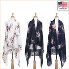 New Women Fashion Floral Printed Chiffon Open Front Sleeveless Vest - 30032