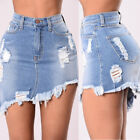 US STOCK Sexy Womens Faded Denim Short Jeans Ripped High Waisted Slim Mini Skirt