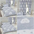HAPPY CLOUDS / STARS BEDROOM - CURTAINS & DUVET COVER SET JUNIOR SINGLE DOUBLE