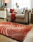 SMALL - LARGE TERRACOTTA BURNT ORANGE THICK SOFT CARVED PILE 3D VERGE FURROW RUG