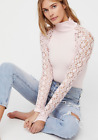 NEW Free People Intimately Rib and Lace Turtleneck Top in Pink XS/S-M/L 62.88
