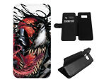 Venom Spiderman Phone Case Wallet Black for iPhone 6 7 8 Plus X Galaxy S8+ S9 LG