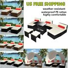 Luxury Outdoor Rattan Wicker Sofa Set Sun Lounge Patio Couch Cushioned Furniture