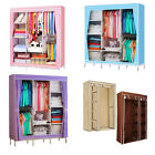 Triple Double Canvas Folding Close Wardrobe Cupboard Hanging Clothes Storage UK